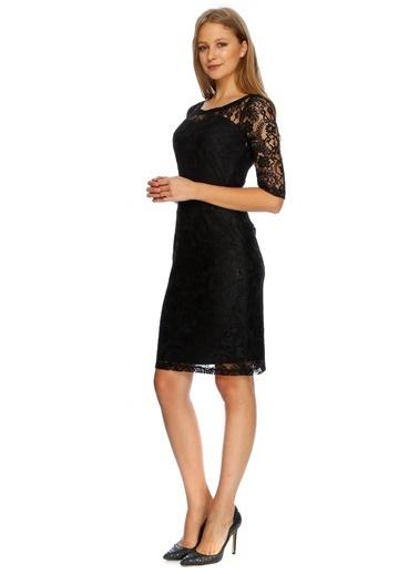 Ekol Ekol 05027 Diz Boy Dantelli Iç Saten Kadın Elbise Siyah